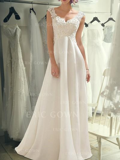 Empire V-neck Sweep Train Wedding Dresses With Lace (002218071)