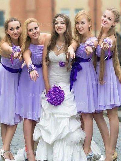 A-Line/Princess One-Shoulder Knee-Length Bridesmaid Dresses With Sash (007218563)