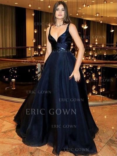A-Line/Princess Sweetheart Sweep Train Evening Dresses With Lace (017213439)