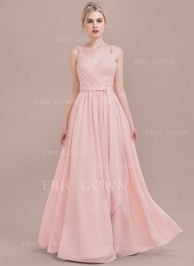 A-Line/Princess V-neck Floor-Length Chiffon Evening Dress With Ruffle (017124649)