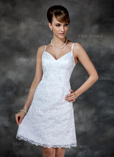 Sheath/Column Sweetheart Knee-Length Wedding Dresses With Beading Sequins (002000222)