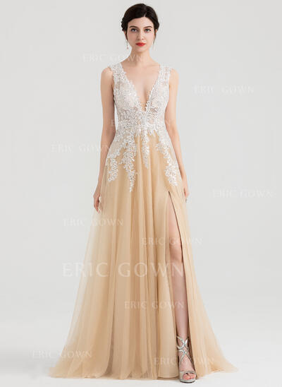 A-Line/Princess V-neck Sweep Train Tulle Evening Dress With Sequins Split Front (017153645)