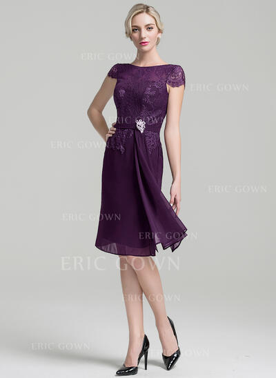 Sheath/Column Scoop Neck Knee-Length Chiffon Mother of the Bride Dress With Beading Cascading Ruffles (008091953)
