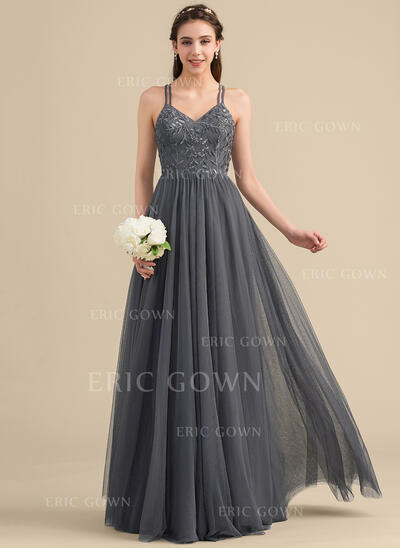 A-Line/Princess Sweetheart Floor-Length Tulle Lace Bridesmaid Dress With Beading Sequins (007153343)