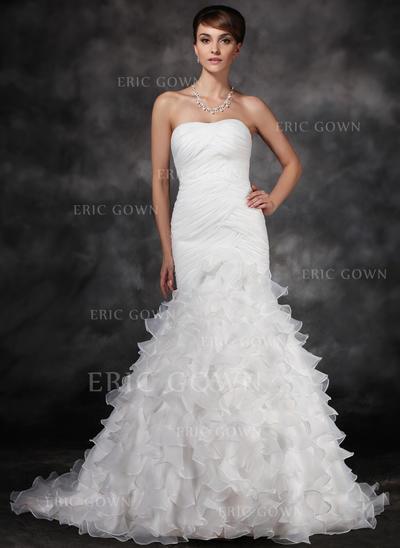 Trumpet/Mermaid Sweetheart Court Train Satin Organza Wedding Dress With Ruffle Cascading Ruffles (002017165)