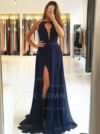A-Line/Princess Scoop Neck Sweep Train Prom Dresses With Lace Split Front (018218612)