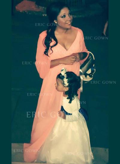 A-Line/Princess V-neck Sweep Train Chiffon Mother of the Bride Dresses With Sash Beading (008212745)