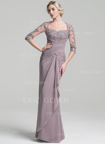 Trumpet/Mermaid Sweetheart Floor-Length Chiffon Evening Dress With Ruffle Cascading Ruffles (017096352)