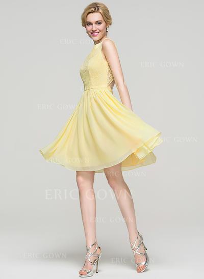 A-Line/Princess Scoop Neck Knee-Length Chiffon Homecoming Dresses (022214114)