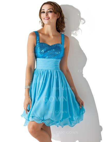 A-Line/Princess Sweetheart Knee-Length Homecoming Dresses With Ruffle (022214134)