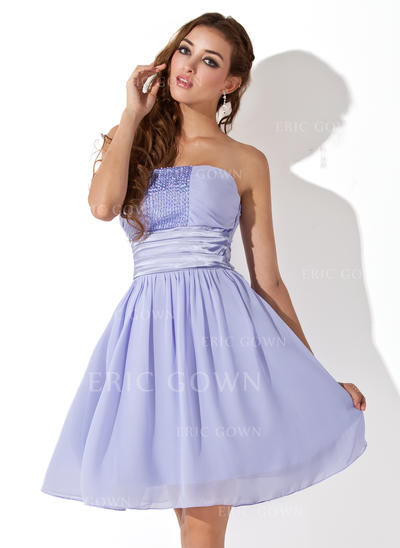 Empire Strapless Knee-Length Chiffon Homecoming Dresses With Ruffle Beading (022212904)