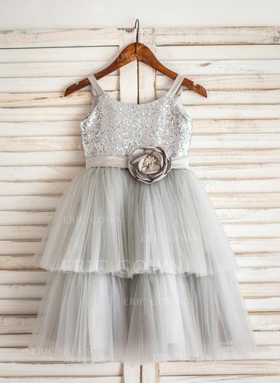 A-Line/Princess Tea-length Flower Girl Dress - Tulle/Sequined Sleeveless Straps (010092615)