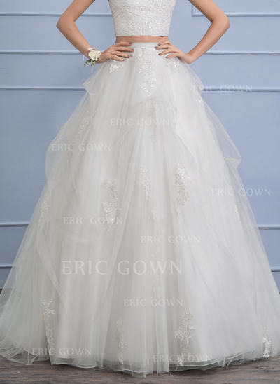 Separates Chapel Train Tulle Wedding Skirt With Appliques Lace Cascading Ruffles (002110491)