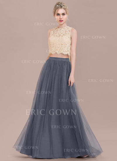 A-Line Scoop Neck Floor-Length Tulle Lace Bridesmaid Dress (007116660)