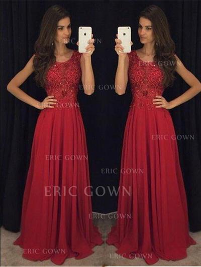 A-Line/Princess Chiffon Prom Dresses Beading Scoop Neck Sleeveless Sweep Train (018210209)