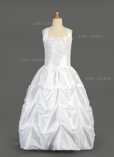 Fashion Scoop Neck Ball Gown Flower Girl Dresses Floor-length Taffeta Sleeveless (010014648)