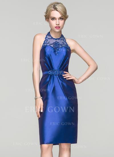 Sheath/Column Halter Knee-Length Satin Cocktail Dress With Ruffle Beading Sequins (016094350)