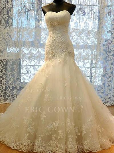 Trumpet/Mermaid Sweetheart Court Train Wedding Dresses With Ruffle Beading Appliques Lace (002213462)