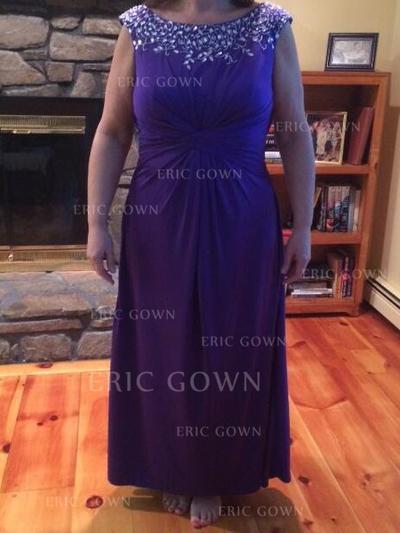 A-Line/Princess Chiffon Sleeveless Scoop Neck Floor-Length Zipper Up Mother of the Bride Dresses (008212749)