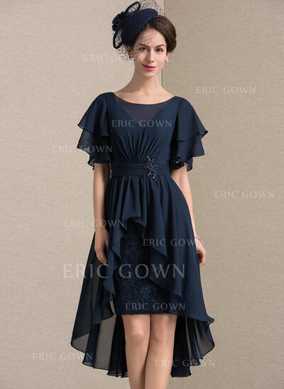 Sheath/Column Scoop Neck Asymmetrical Chiffon Lace Mother of the Bride Dress With Beading Sequins Cascading Ruffles (008143357)