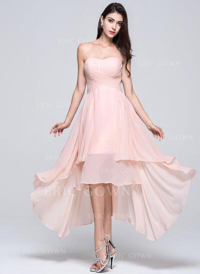 A-Line Sweetheart Asymmetrical Chiffon Bridesmaid Dress (007022746)