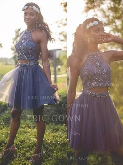 A-Line/Princess Halter Short/Mini Homecoming Dresses With Beading (022216342)