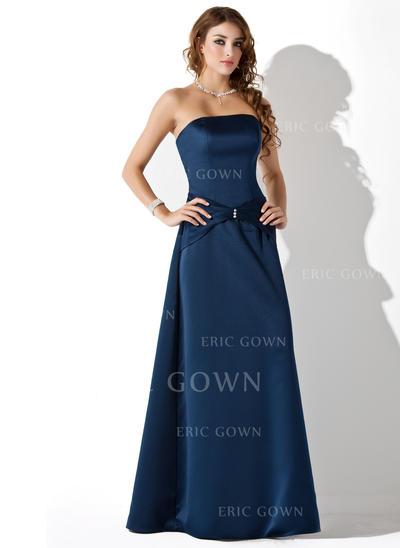 A-Line/Princess Satin Bridesmaid Dresses Ruffle Beading Strapless Sleeveless Floor-Length (007001806)