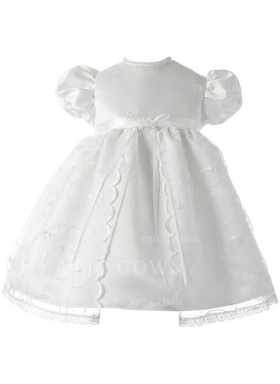 A-Line/Princess Scoop Neck Floor-length Satin Christening Gowns With Lace (2001217389)