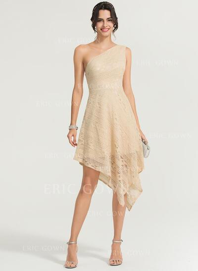 A-Line One-Shoulder Asymmetrical Lace Cocktail Dress (016170873)