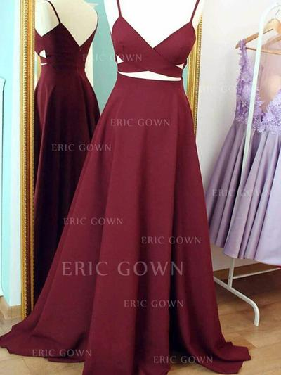 A-Line/Princess V-neck Sweep Train Prom Dresses With Ruffle (018212219)