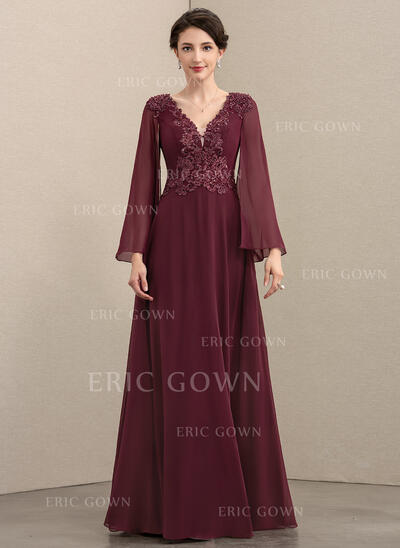 A-Line V-neck Floor-Length Chiffon Lace Evening Dress With Beading Sequins (017208800)