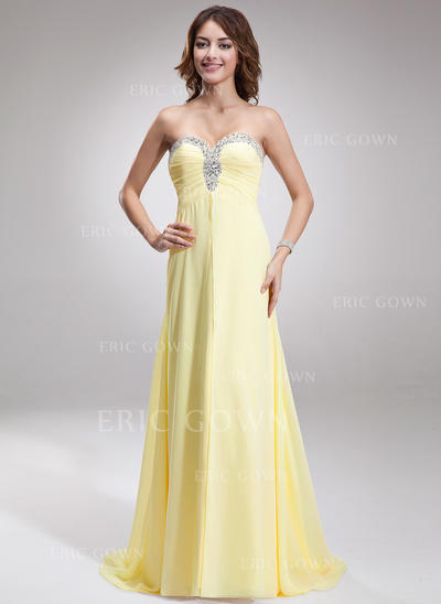A-Line/Princess Sweetheart Sweep Train Evening Dresses With Ruffle Beading (017016879)