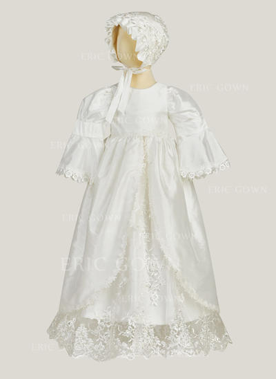 A-Line/Princess Scoop Neck Floor-length Satin Christening Gowns With Lace (2001216860)