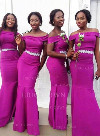 Trumpet/Mermaid Satin Bridesmaid Dresses Appliques Lace Off-the-Shoulder Sleeveless Floor-Length (007145042)