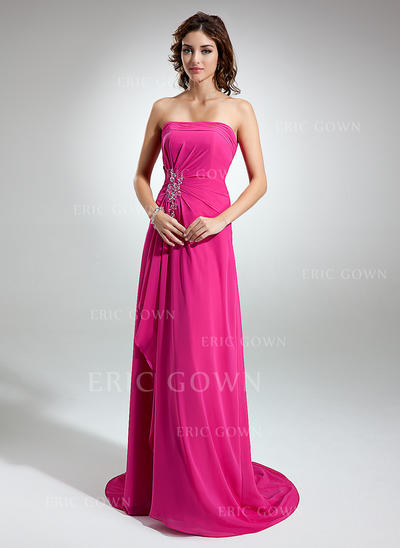 A-Line/Princess Chiffon Bridesmaid Dresses Beading Appliques Lace Cascading Ruffles Strapless Sleeveless Sweep Train (007001752)