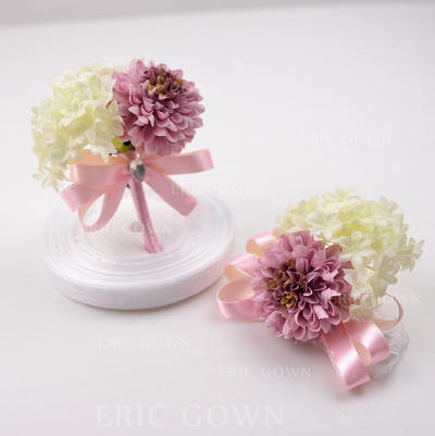 Wrist Corsage/Boutonniere Free-Form Wedding Silk linen With Flower/Bowknot Wedding Flowers (123189920)