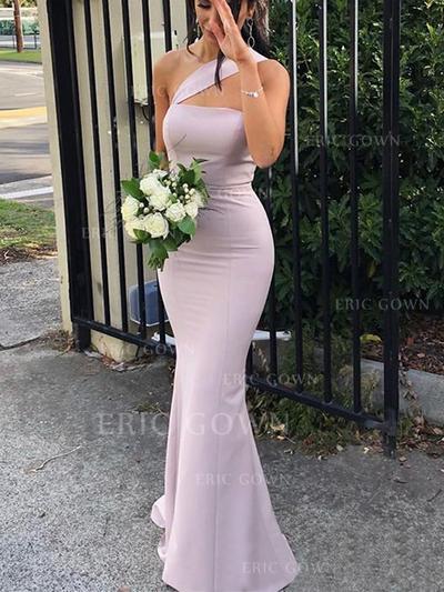 Sheath/Column One-Shoulder Floor-Length Bridesmaid Dresses (007219271)