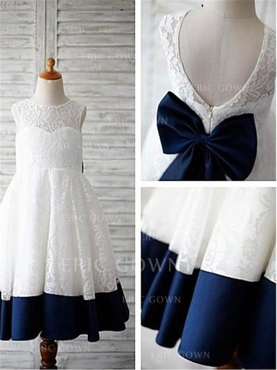 A-Line/Princess Scoop Neck Tea-length With Bow(s) Lace Flower Girl Dresses (010211767)
