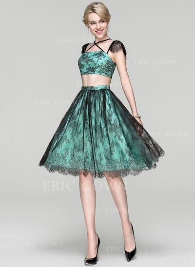 A-Line/Princess Square Neckline Knee-Length Charmeuse Lace Cocktail Dress (016094383)