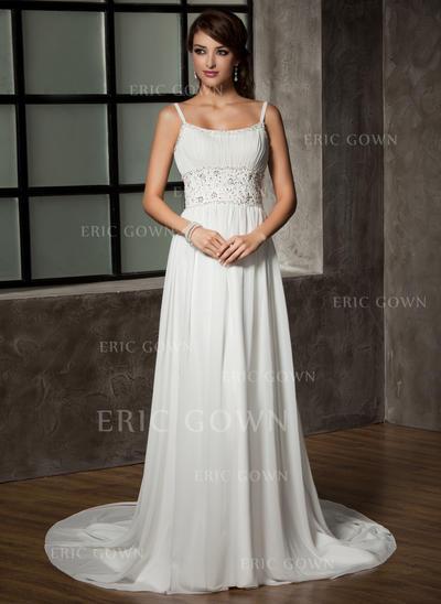 A-Line/Princess Sweetheart Chapel Train Wedding Dresses With Ruffle Beading Sequins (002196842)