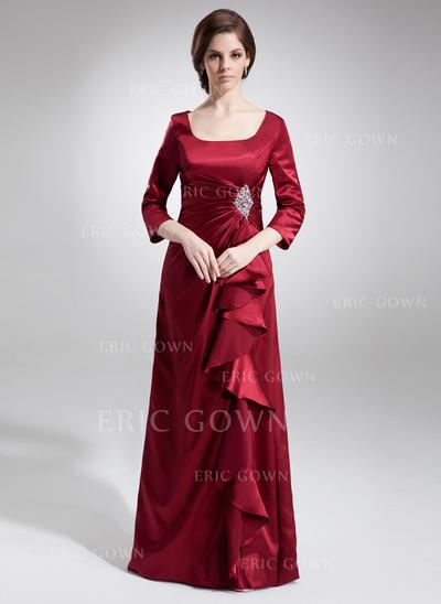 A-Line/Princess Charmeuse 3/4 Sleeves Square Neckline Floor-Length Zipper Up Mother of the Bride Dresses (008213093)