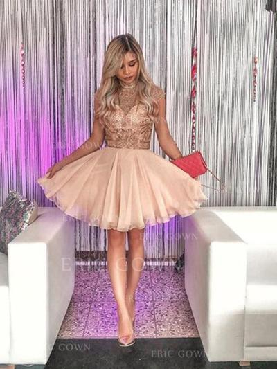 A-Line/Princess High Neck Short/Mini Homecoming Dresses With Beading Appliques Lace (022216316)