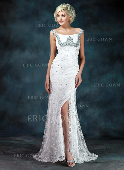 Trumpet/Mermaid Lace Sleeveless Off-the-Shoulder Sweep Train Zipper Up Mother of the Bride Dresses (008213111)