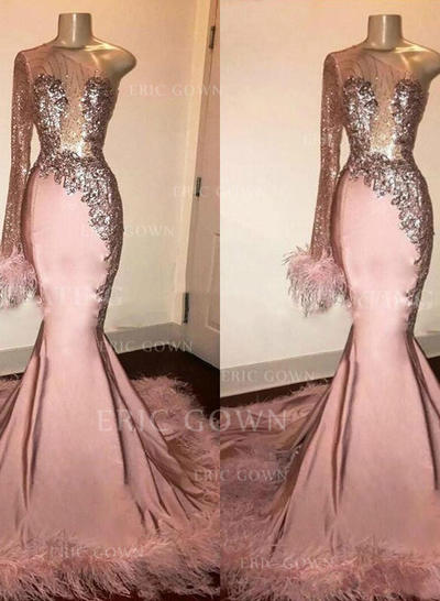 Trumpet/Mermaid One-Shoulder Sweep Train Prom Dresses With Beading Feather Appliques (018219376)