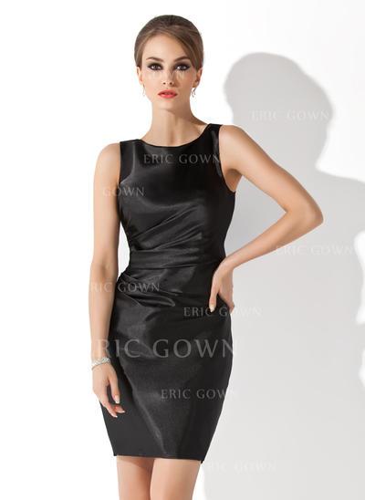 Sheath/Column Charmeuse Sleeveless Scoop Neck Short/Mini Zipper Up Mother of the Bride Dresses (008210419)