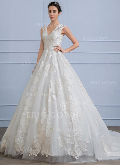 Ball-Gown V-neck Chapel Train Lace Wedding Dress With Beading Sequins (002106059)