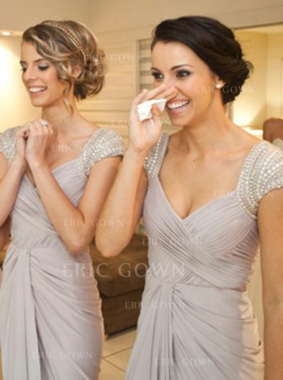 Sheath/Column Jersey Bridesmaid Dresses Beading Sequins Bow(s) Cascading Ruffles V-neck Sleeveless Floor-Length (007146680)