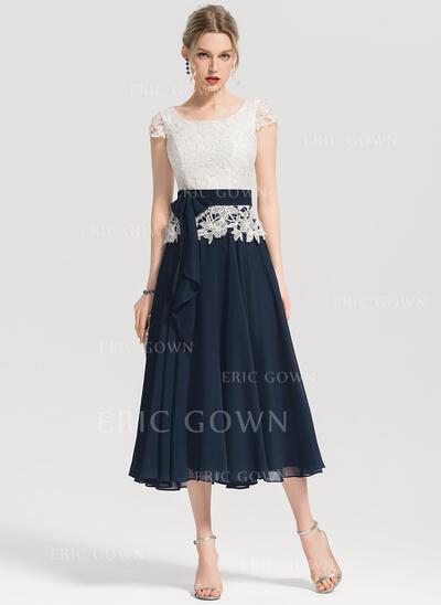 A-Line/Princess Square Neckline Tea-Length Chiffon Cocktail Dress With Bow(s) (016154227)