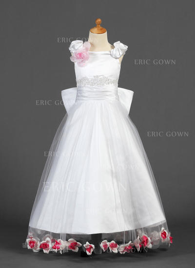 Simple Off-the-Shoulder A-Line/Princess Flower Girl Dresses Floor-length Satin/Tulle Sleeveless (010007327)