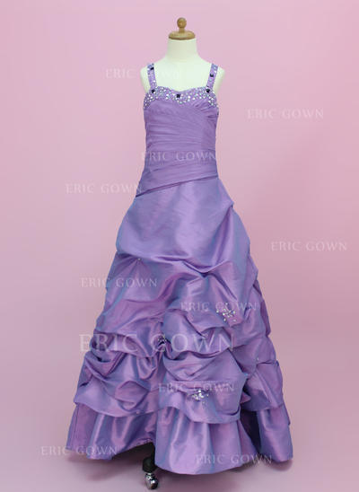 A-Line/Princess Sweetheart Floor-length With Ruffles/Beading/Pick Up Skirt Taffeta Flower Girl Dresses (010002150)